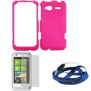 GTMax Hot Pink Hard Rubberized Snap On Case + Clear LCD