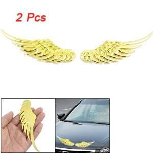 Amico Pair Gold Tone Angel Wings Style Badge Sticker for