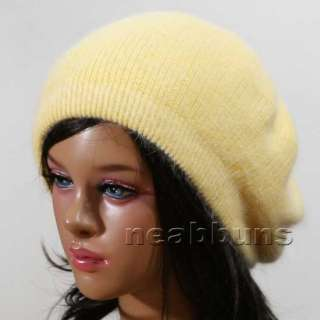 wool BERET beanie Knit winter Hat Cap ski angora YELLOW