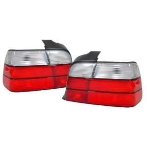 1992 1999 BMW E36 3 Series 4 Door Red/Clear Tail Light