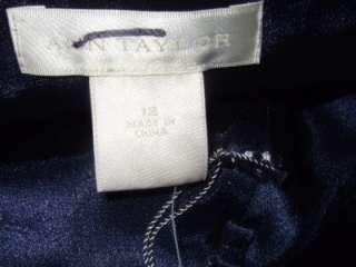 ANN TAYLOR navy blue SILK dupioni SPAGHETTI or STRAPLESS party dress $