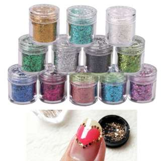 12 Colors Glitter Sparkle Dust Powder Nail Art Laser Lozenge Type