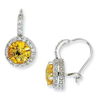STERLING SILVER CHECKER CUT YELLOW & WHITE CZ FRENCH WIRE EARRINGS