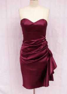 BL1157 PURPLE SIDE PLEATED STRAPLESS PADDED BRIDESMAID WEDDING PARTY