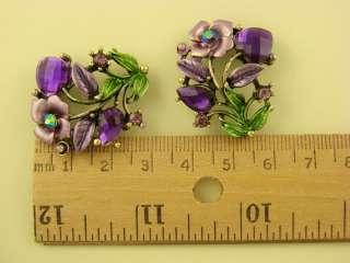Hole Beads #3 Purple Rose & Hearts Made w/ Amethyst Swarovski