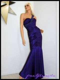 225 New XSCAPE Purple Stretch Satin Formal Prom Dress