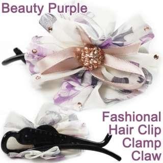 Fashion Women Flower Hair Pin Clip Crystal Cloth Band Clamp Claws 5