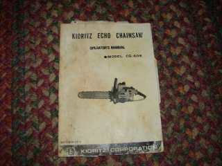 Kioritz Echo Power Chain Saw Manual