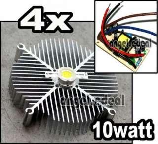 4x) Aluminium heatsink cooling + 10w White high power led light lamp