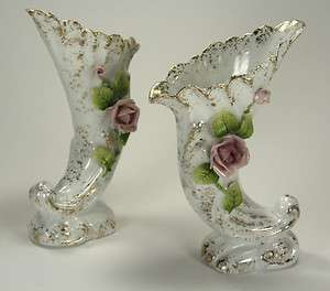 Bone China Pair of Bud Vases Pink Roses Gold Trim Hand Painted