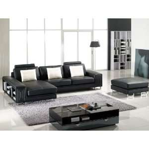 Fabio Modern Black Full Leather Sectional Sofa and Ottoman