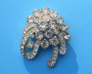 Vintage Eisenberg ICE Signed Clear Rhinestone Ribbon/Bow Pin Brooch
