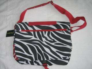 NWT Black White Red Zebra Messenger Tote School Bag