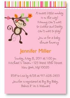 Little Miss Monkey Baby Shower Invitation Printable