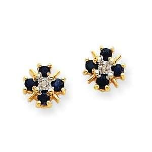14k Gold Blue Sapphire & Diamond Post Earrings Jewelry