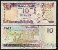 FIJI $10 P98 1996 AA PREFIX BOAT BIRD QUEEN UNC NOTE