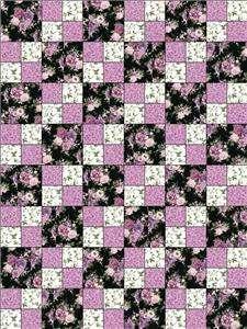 Beautiful Blossom Black Violet Mauve Pink Floral Quilt Kit Precut Rose