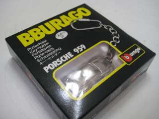 Bburago (Italy) Porsche 959 187 Key Chain Silver Diecast NIB