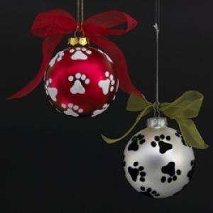 GLASS ANIMAL PAW PRINTS BALL CHRISTMAS ORNAMENTS 2