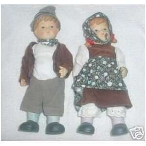 Pair of Bisque Porcelain Boy & Girl Bavarian Dolls