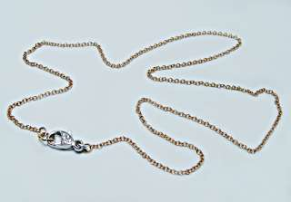 18K Pink White Gold Fancy Diamond Clasp Chain Necklace