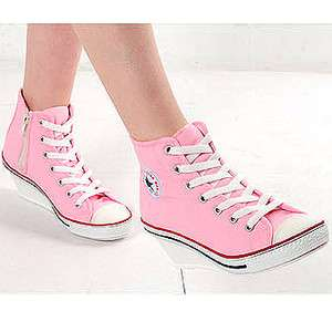 Womens Pink High Top Sneakers Zip Wedge Heel Shoes US 5~8 / Lace Up