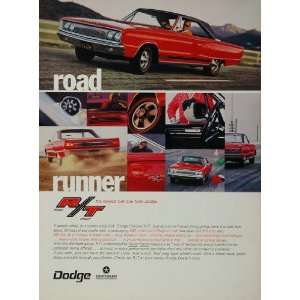 1967 Ad Red Dodge Coronet R/T Muscle Car Road Runner