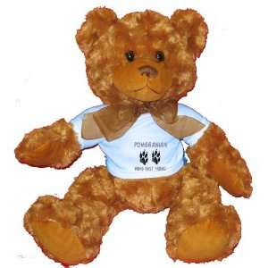 POMERANIAN MANS BEST FRIEND Plush Teddy Bear with BLUE T