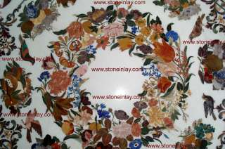 Grand Pietra Dura Large Marble Inlay Dining Table Top Art of royal