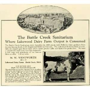 1925 Ad Wentworth Lake Dairy Farms Battle Creek Sanitarium Holstein