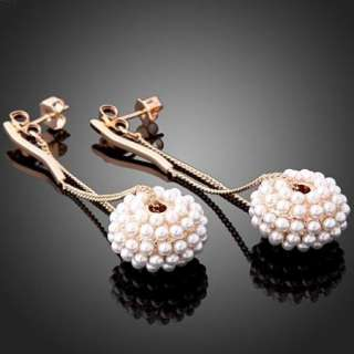 ARINNA Pearl Swarovski Crystal Pierced Dangle Earrings