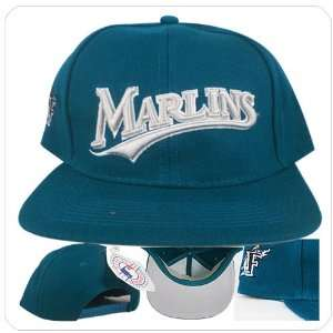 Marlins black aqua blue logo white vintage baseball snapback hat cap