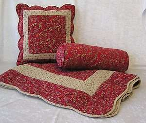 Floral Quilted Throw Blanket Accent & Neck Roll Pillows Table Topper