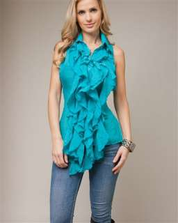 New Darling Sleeveless Ruffle Button Front Aqua Blouse Top Large