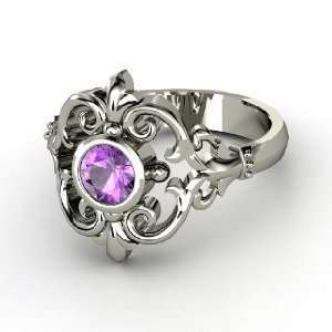 Winter Palace Ring, Round Amethyst 14K White Gold Ring