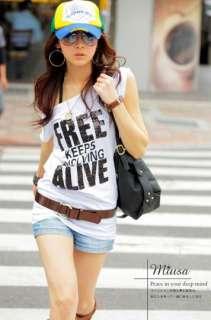 new sexy cool Japan women fashion short sleeve one shoulder T shirt