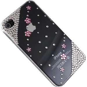 Bling Crystal Pink Flowers Rhinestone Case Cover for Iphone 4 & 4s