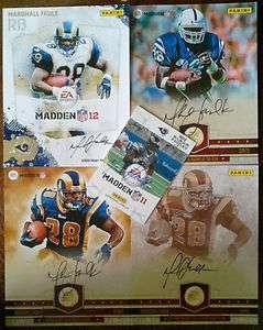 Set of 4 Marshall Faulk Signed/Autographed Madden NFL 12 Panini Cards