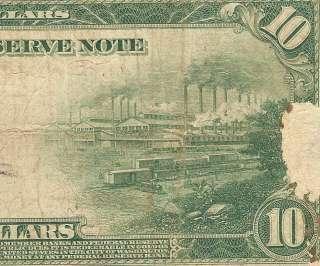 LARGE 1914 $10 DOLLAR BILL FEDERAL RESERVE NOTE OLD PAPER MONEY Fr