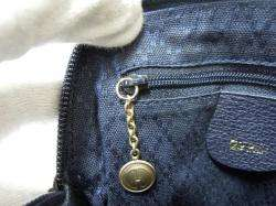 Auth Gucci Navy Suede leather Bomboo Mini Hand Shoulder bag Cross body