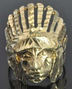 Yellow Gold Diamond Cut Indian Chief Head 3D Mens Ring 10.25