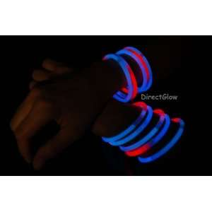 TRI COLORED RED/WHITE/BLUE Glow Bracelets with FREEBIES Toys & Games