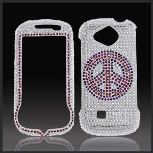 Peace Sign on Silver Cristalina crystal bling case cover for Samsung