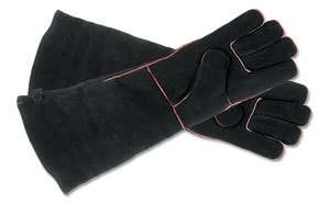 Fireplace Hearth Wood Stove Gloves Long Insulated 19L Black Suede w