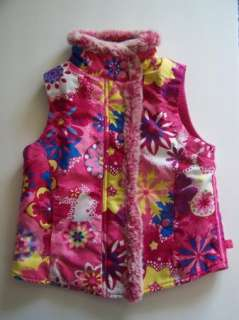 Childrens Place Girl Pink Funky Floral Fleece Lined Vest Jacket 7/8