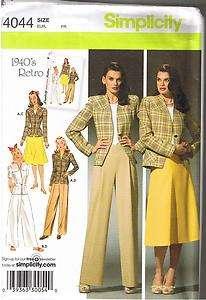 Retro Suit Skirt Pants Jacket Simplicity Pattern Size 10 12 14 16 18