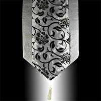 BLACK FLOCK GRAY TAFFETA DECORATIVE TABLE RUNNER CLOTH