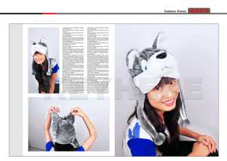 Cartoon Husky Animals Cute Plush Fluffy Costume Hat Cap