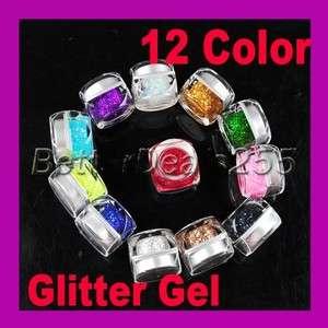 12 Colors UV Glitter Paillette Builder Gel for Nail Art