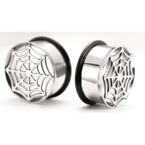 Single Flare Impression SKULL/STAR Super High Polish Steel Ear Jewelry